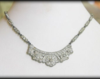 Stunning Art Deco Pot Metal and Clear Paste Rhinestone Vintage Bridal Necklace