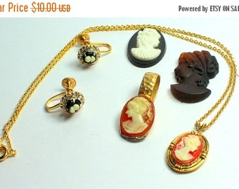BIG SALE Lot of  Salvaged Vintage Assorted Cameo Jewelry  Parts and Pieces