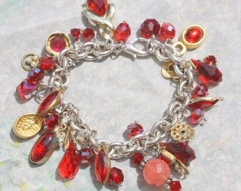 SPRING SALE DRIPPING Berries  Shabby Chic  One of a Kind Assemblage Dangle Crystal Glass Red Charm Bracelet