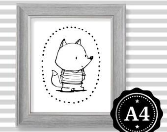 FOX wall art print Illustration Print Printing Kids room decoration Nursery decoration Black and white Scandinavian style