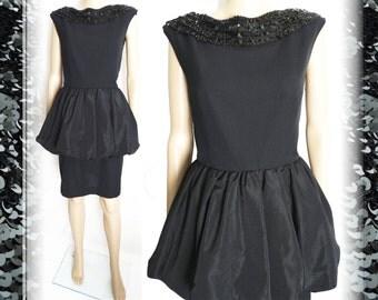 Vintage 1950s Dress//50s Dress/ Black//Designer//Sequins//New Look//Mod//Wiggle//Party Dress
