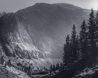 Sierra Mountains, California, Mountains , fine art photo, landscape, rustic, wall decor, man cave office bedroom, print, blue grays, nature