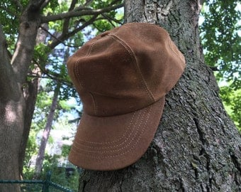 Vintage 1980s Sueded Leather classic ball cap - USA made in Maine by LL Bean