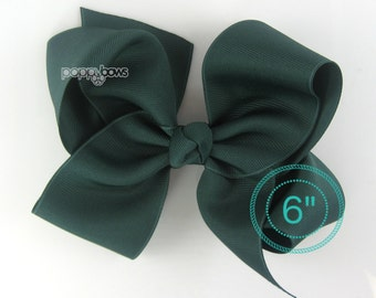"""Extra Large Hair Bow, Dark green Hair Bow, 6"""" 6 inch hair bows, big bow, giant bow, extra large bow, hair bows for girls xl, Hunter green"""