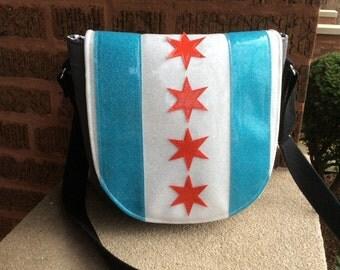 Chicago Flag Purse /Crossbody Purse / Saddlebag / CHICAGO PRIDE / Swoon Patterns Sandra