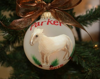 Horse Personalized Pet Portrait Ornament - Send me a photo of your horse and I will custom design your ornament