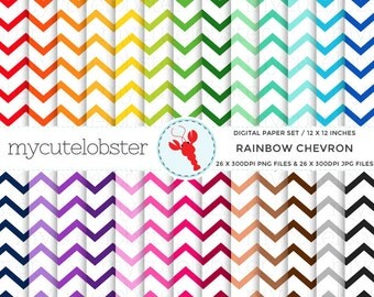 Rainbow Chevron on White Digital Paper Set - rainbow chevron, zig zag paper set - personal use, small commercial use, instant download