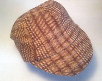Brown/tan plaid wool cycling cap