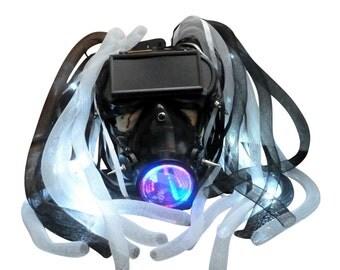 Steampunk goggles LED light dread cyberlock goth RAVE cyber club face gas mask respirator DJ dance Halloween costume - M3