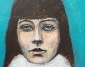 RESERVED for Kim Original 8 x 8 Acrylic Portrait on Cradled Wood Panel