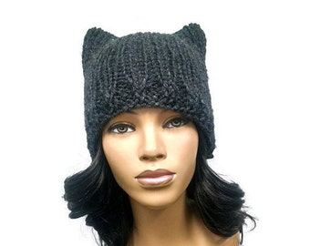 MADE TO ORDER Dark Grey/ Charcoal Gray Cat Ears Beanie/ Cat Hat with free matching crochet earrings (not pictured) Wool Blend