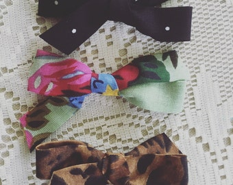 Set of Three- Fall Bows - polkadot- floral-leopard- baby clips- baby headbands