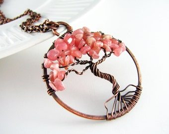 Wire Wrapped Pendant Tree Of Life Necklace Wire Wrapped Necklace Rhodonite Copper Necklace Wire Wrapped Jewelry Copper Jewelry