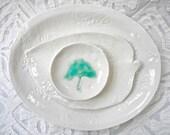 Snack Set, Sushi Set, White Dinnerware, White platter, Ginkgo Leaf bowl, Sushi Platter, Lace Pottery, Textured Platter, minimalist ceramic