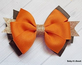 Pumpkin Brown and Gold Bow - Pumpkin and Gold Bow, Pumpkin Spice Bow, Brown and Gold Bow, Pumpkin Orange Bow, Thanksgiving Bow, Fall Bow