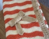"""Persimmon, cream, and tan bow blanket 35""""x29"""""""