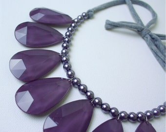 Teardrop Tie Back Statement Necklace in Plum / Purple / Eggplant