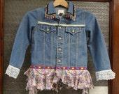 Girls Jean Jacket,Child's Jean Jacket,Boho Jean Jacket,Upcycled Jean Jacket,by Nine Muses Of Crete
