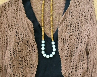 Long beaded necklace chunky necklace large bead stone and wood necklace beaded jewelry bohemian jewelry boho style