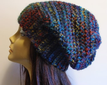 Womens Hat, Slouchy Beanie, Knit Wool Hat, Slouchy Hat, Multi Striped, Slouch Beanie, Oversized Hat, Bulky Warm Chunky