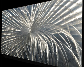 """47x24"""" Metal Art Wall Decor 3D Video LED Halogen Light reflect no Painting Silver Abstract home office Sculpture Modern piece Lubo Naydenov"""