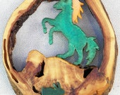"""Rearing Horse and Rabbit in Hollow Log 5.25"""" x 3.75"""" x 1"""" Rustic Wall Hanging"""