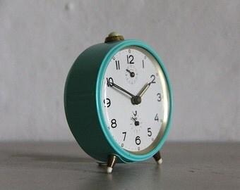 Vintage French Jaz Alarm Clock  60's Retro/ Mid Century Turquoise