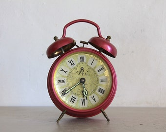 Upcycled Vintage French Jaz Alarm Clock Pink