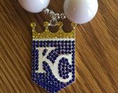 Kansas City Royals Bubblegum Necklace, Chunky Necklace, Bubblegum Beads, Chunky Beads, Children, Baby, Photo prop, Blue, White, Rhinestone