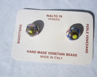 Rialto 79 Italian Venetian Glass Clip Earrings on Original Card