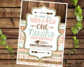 Tribal Wild One Party Invitations - Coral  Teal and Gold -  First Birthday Party -  Printable digital download