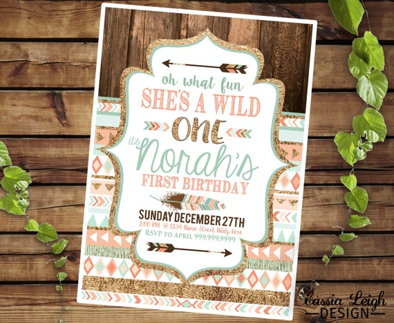 Tribal Wild One Party Invite - Coral  Teal and Gold -  First Birthday Invitation -  Printable digital download
