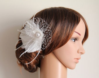 Wedding Bridal Ivory Feather Off White Veiling Lace Pearl Jewel Head Piece Hair Clip Fascinator Accessory READY TO SHIP