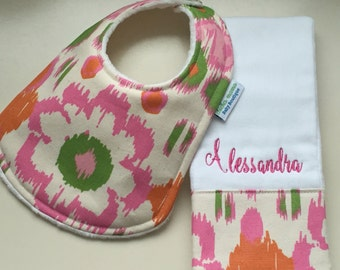 Personalized Monogrammed Baby Bib and Burp Cloth Set - Baby Girl Set