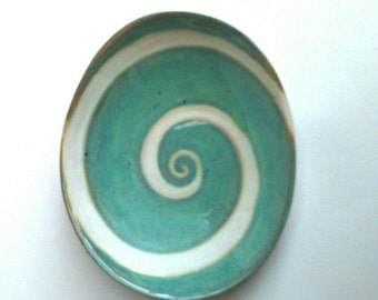 Handmade stoneware pottery bowl dish ..  Aqua swirl