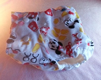 SassyCloth one size pocket diaper with mickey emoji cotton print. Made to order.