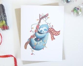 Sloth Christmas Lights Holiday Greeting Card