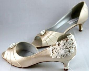 Wedding shoes - Wedding shoe low heel Size 11- vintage shoes - Alana