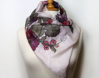 Hand painted silk scarf. Purple and green silk scarf. Silk foulard painted by hand, wearable art. Unique and special womans gift.