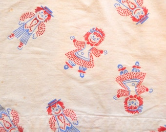 Vintage Raggedy Ann and Andy Fabric Curtains 42 inches x 54 inches