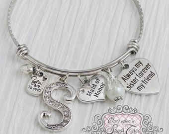 Maid of Honor Gift - Always My Sister Forever My Friend-Initial Wedding Bracelet,Bridesmaid Jewelry-Expandable Bangle-from Bride,Bridesmaids