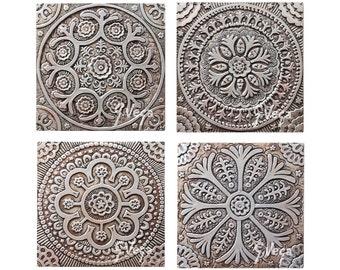 Suzani art tiles made from ceramic // Wall sculpture // Decorative tile // Ceramic art // Silver // Suzani set of 4 tiles // 30cm