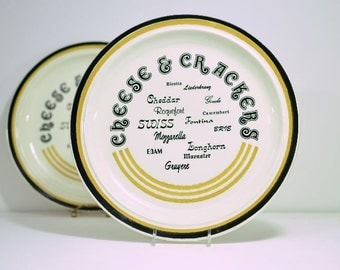 Vintage Cheese and Crackers Platter USA Pottery:  Set of Two