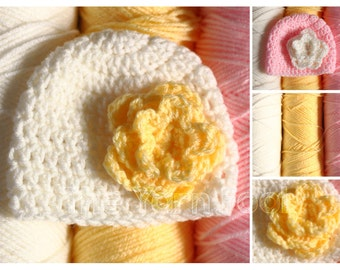 Basic Beanie with a Flower Newborn, Infant, Toddler, Youth, and Adult Sizes