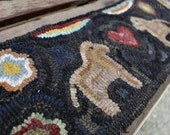 Primitive Folk Art Hooked Rug Horse and Flower Table Runner ~ Early Style