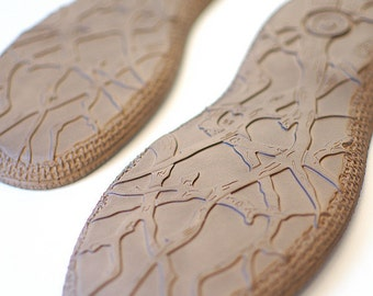 Soles for shoemaking projects Brown PU - Soles for crotchet felted leather shoes or slippers