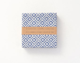 Summerish Pattern Ceramic Coasters Blue on White