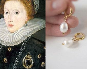 Pearl  Hoop Earrings, 18th Century Jewelry, Elizabethan Earring, Reproduction Jewelry, Large Pearl Drop Earring, Real Pearl, Queen Elizabeth
