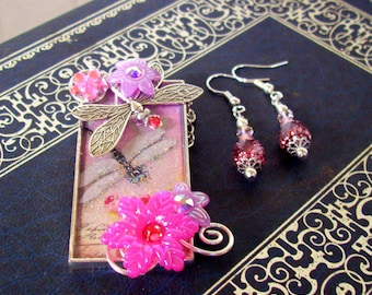 Jewelry Set (S613) Necklace and Earrings, Dragonfly Graphic Under Resin Pendant, Flowers, Crystal Dangles, Silver,  Pink and Apricot