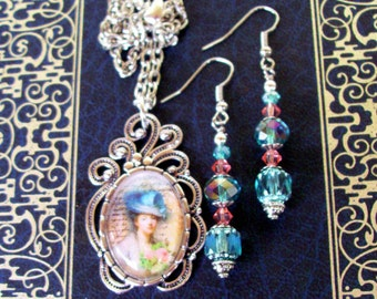 Fancy Earrings and Necklace Set (S544) - Fancy Pendant Frame -  - Vintage 18th Century Image - Pink and Blue Crystals